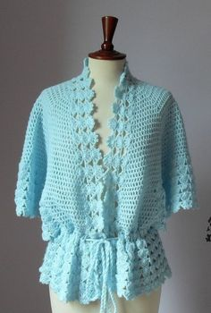 Crocheted bed jacket or light cardigan I actually have 2 ecru) of these made out of crocheted placemats or table runners. I originally wore them as vests. Crochet Coat, Crochet Jacket, Crochet Cardigan, Crochet Shawl, Crochet Clothes, Mode Crochet, Jacket Pattern, Crochet Fashion, Beautiful Crochet