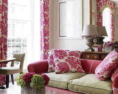 Christopher Farr Cloth. Pink and Green living room.