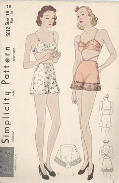Simplicity 1930's Bra and Panties unmarked Sewing Pattern #S612 with transfer for applique. Misses bra and panties, version 1 is an uplift bra fastened at center back, version 2 is a bra for evening wear with cross over strap fastened at front. Panties may be made with or without lace. Transfer pattern included for applique. A Few Threads Loose