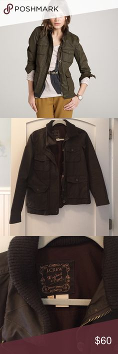 J. Crew Utility Jacket Never goes out of style! Great for fall, waxed jacket perfect for layering. Worn a bunch so wax is a little soft but in stellar shape. Slight pilling on collar (price reflects!) J. Crew Jackets & Coats Utility Jackets