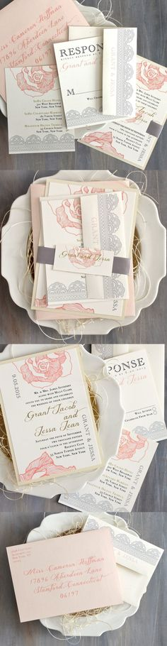 "A romantic twist on the traditional invitation ""Ruffled Romance"" with blush florals, lace, and charming gold script fonts @beaconln"