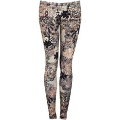 McQ Alexander McQueen Lace Print Leggings ($154) ❤ liked on Polyvore featuring pants, leggings, bottoms, jeans, legging pants, elastic waist pants, lace print pants, lace pants and lace print leggings