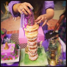 Donut Tower Rapunzel cake! Simple and delish.