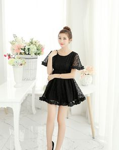 DR002236 Pinched waist gauze lace jacquard slim summer dress