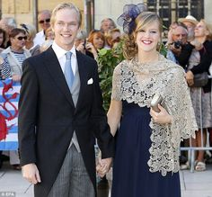 Royal friends: Archduke Imre and Archduchess Kathleen of Austria happily pse fro the cameras after the wedding
