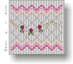 Colors: Dark pink (DMC3326), medium pink (DMC963), light pink (DMC819), white (B5200), green (DMC3348)