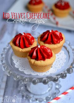 These Red Velvet Cheesecake Cookie Cups take just minutes to prepare and are so fabulously festive! | MomOnTimeout.com