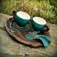 Vo vrúcnom spojení  Ceramic coffee cups - set of two.... #polymerclay #paverpol #ceramic #turquoise #brown #copper