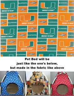 Miami Hurricanes Handmade Fabric Pup Tent Pet Bed. Avail @ http://stores.sharonsdecoratedbooks.com/ Beds r made when ordered and payment is received. The average time that it takes for the Bed to ship after payment is usually 5 biz days. The Pet Beds are made of licensed cotton NCAA College material, but are not licensed by the NCAA College. They are handcrafted and resold under rights granted by the 1st sale doctrine. We are not affiliated with The Licensed Company in any way. ***22$ Sm…