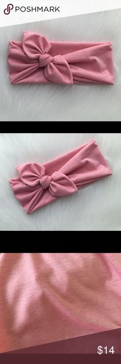 """Knotted Bow Headband in pink Cute knotted bow headband, wear it on the side or in the center of the head, with your hair up or down. Knot can be untied and retied for a better fit.  Care: Hand Wash cold and lay flat to dry Materials: crafted from a soft and stretchy knit fabric.  Band measures about 4"""" in the back.  *Color of actual product purchased may slightly vary in hue/ color from photograph due to camera lighting. Mercedesbandz Accessories Hair Accessories"""