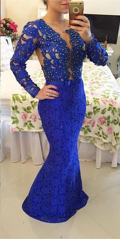 $169-2016 royal blue prom dresses_prom dresses long open back_evening gowns with sleeves_evening gowns lace