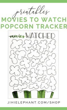This movies to watch layout features a bag of popcorn with popcorn kernels all over the page to write movies in. Whether you want to create a list of movies to watch or a list of movies you have already watched, this bullet journal layout is perfect for you! These designs are hand-lettered.