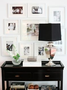 Gallery wall for master bedroom. Love the white frames.