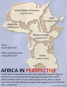 Africa vs rest of the world -- America's geographers used to skew the world maps to make America appear to be the largest continent. This image shows just how much skewing they go up to!