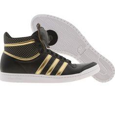 Adidas Womens Top Ten High Sleek Bow Zip (black / metallic gold / white) G63108 - $89.99