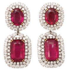Spectacular DAVID WEBB Platinum Rubelite Diamond Earrings