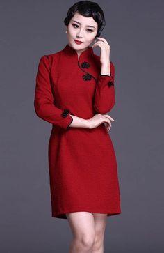 Red Long Sleeve Chinese Qipao / Cheongsam Dress