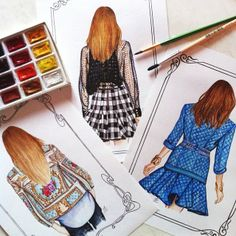 These fashion drawings are amazing, I love the amount of detail. These are done by @doll_memories