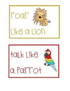 Here's a set of cards for monitoring noise levels in your room. Includes Roar Like a Lion (loud! like at recess), Talk Like a Parrot (normal talking, like group work), Squeak Like a Mouse (whisper voices), and  Silent Like a Sloth (no voices).