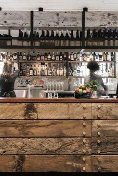Industrial bar, industrial bar design, rustic bar design and rustic bar design in Australia, The Nelson recycled timber bar counter - - italianbark 3 Pub Design, Back Bar Design, Rustic Design, Design Kitchen, Wood Design, Industrial House, Rustic Industrial, Industrial Interiors, Industrial Bedroom