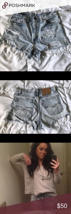 Urban outfitters Levi distressed denim Shorts My favorite high waisted shorts! I out grew them though 💔 super cute and the back has a slit for showing our the booty! Vintage Levi and bought from urban outfitters. Also selling on Mercari for cheaper Urban Outfitters Shorts Jean Shorts