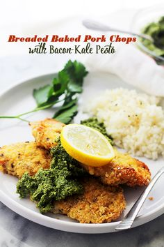 Breaded Baked Pork Chops with Bacon-Kale Pesto - Tender and delicious Pork Chops coated in oyster crackers and cheese served with a side of a truly mouthwatering homemade Bacon-Kale Pesto.