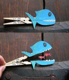 Clothespin chomping fish