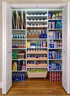 "This is the pantry. Add basket drawers for lunch snacks. Instead of can drawers use side roll racks. Keep cookie sheet slots. Big pots and appliances on the lower shelves. Adjustable heights. Needs to be at least 16"" depth."