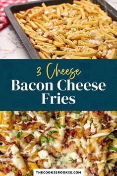 Bacon Cheese Fries with Ranch are my  go-to party food. This cheese fries recipe is an easy and fun appetizer for game day, parties or just a cozy night in. Crispy fries, ranch seasoning, bacon, cheddar, mozzarella, and feta.  #sponsored #gamedayfood #loadedfries #partyfood #bacon #frenchfries #appetizer Poutine Recipe, Fries Recipe, Bacon Seasoning, Ranch Seasoning, Appetizer Recipes, Dinner Recipes, Turkey Recipes, Potato Recipes, Dinner Ideas