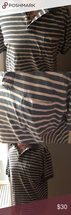 J. Crew striped jersey polo Blue and white striped, lightweight, breast pocket J. Crew Shirts Polos