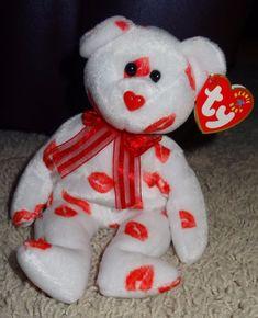 6d1ed9f32c0 Buy 2000 Ty Beanie Baby Smooch Kisses White Teddy Bear Plush Animal Toy  online