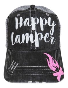 "NEW! White and Neon Pink Glitter ""Happy Camper"" Grey Trucker Cap!  The perfect camping cap!  Order at www.shopspiritcaps.com!"