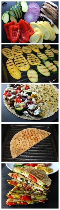 Grilled Veggie Quesadillas with Goat Cheese and Pesto -- Use goats cheese for a healthier take on a cheesy Quesadilla #healthy #lunchideas