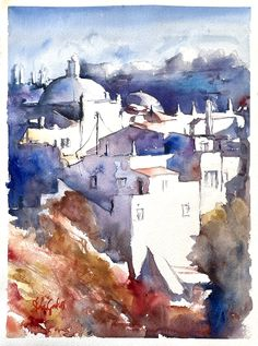Albufeira, Portugal, watercolor Stefan Gadnell Albufeira Portugal, Watercolor, Abstract, Artwork, Painting, Landscape, Pen And Wash, Summary, Watercolor Painting