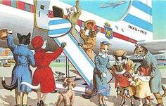 Eugene Hartung Artist Signed Mainzer Dressed Cats Airplane Trip Vintage Postcard Dressed cats fantasy by artist Eugen Hartung with cats boarding commercial airplane. Published by Alfred Mainzer, this