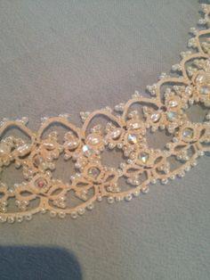 Elizabeth. Vintage ivory tatted lace necklace by Lovelacebyangela