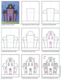 Draw a City Haunted House. PDF tutorial available. projects Draw an Easy Haunted House · Art Projects for Kids Halloween Art Projects, Theme Halloween, Fall Art Projects, School Art Projects, Halloween Activities, Art Activities, Projects For Kids, Art School, Easy Halloween Drawings