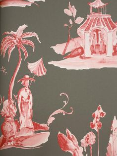 Palais Chinois Wallpaper Painterly chinese toile wallpaper in metallic red on charcoal background.