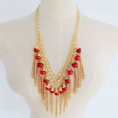 Delicate Beads Chain Tassel Necklace For Women