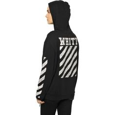 OFF WHITE Caravaggio Drawing Hooded Sweatshirt (3.545 NOK) ❤ liked on Polyvore featuring tops, hoodies, drawstring hoodie, print hoodies, pattern tops, pattern hoodie and print tops