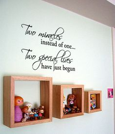 Two Miracles instead of one Twins baby room decor Vinyl by 7decals, $22.99