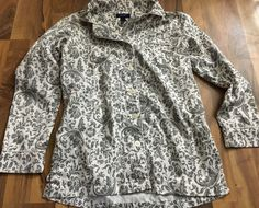 Womens Size Small Chaps Gray Paisley PJ Button Up Nighty Top Shirt #Chaps #ButtonDownShirt #Casual