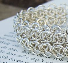 Custom Order - Contemplation: silver chainmaille bracelet. $189.00 USD, via Etsy.