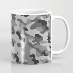 Camouflage Black and White Coffee Mug by camouflagedextergornez Black And White Coffee, White Coffee Mugs, Cold Drinks, Camouflage, Ceramics, Tableware, Ceramica, Cool Drinks, Pottery