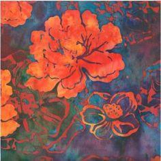 batik-grandes-fleurs-vermillon-fond-multicolore Batik Prints, Techno, Upcycle, Fabrics, Drawings, Pattern, Painting, Clothes, Scrappy Quilts