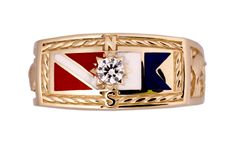 Initial Flag Signet Ring With Diamond. Available in 14K gold or silver
