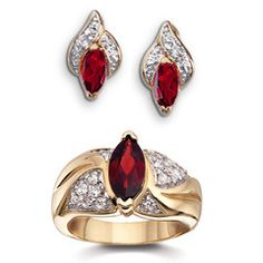 Genuine Garnet and Cubic Zirconia Ring and Earrings 2-Piece Set