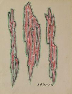 E. Besozzi pitt. 1957 Forme pennarello e biro su carta cm. 15,5x11,6 arc. 611
