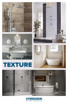 Spice up your space with a little texture using tile, stone, wood or wallpaper. Double Sink Bathroom, Master Bathrooms, Ferguson Showroom, Walk In Shower, Creative Home, Kitchen Lighting, Spice Things Up, Faucet, Tub