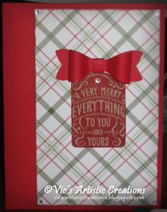Christmas in July - #stampinup #vicsartisticcreations #merrymomentsDSP #bowbuilderpunch #merryeverything #realred